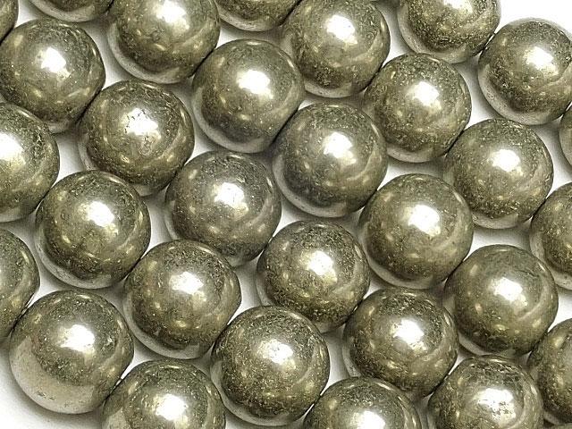 天然石【連販売】ゴールデンパイライト 丸玉 8mm No.2【1連 800円】ビーズとパワーストーン