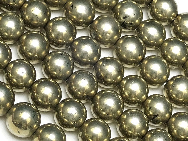 天然石【連販売】ゴールデンパイライト 丸玉 6mm No.2【1連 900円】ビーズとパワーストーン