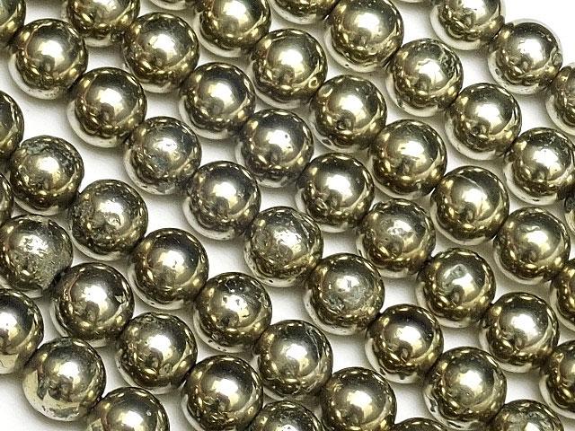 天然石【連販売】ゴールデンパイライト 丸玉 4mm【1連 700円】ビーズとパワーストーン