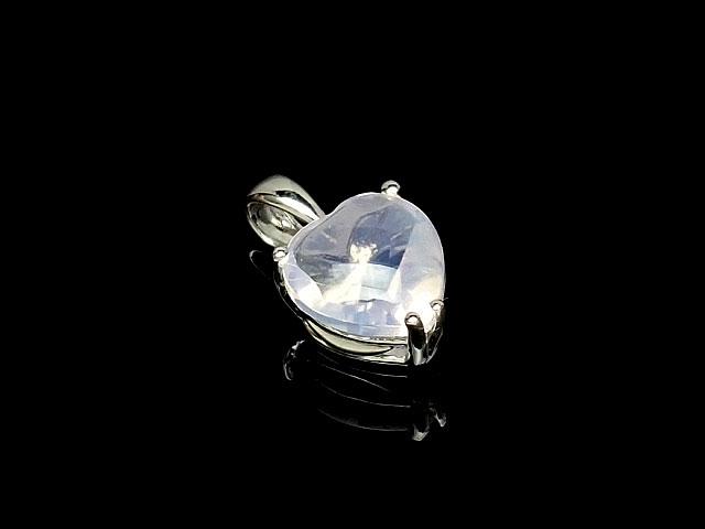 天然石スコロライト ハート型ペンダントトップ 8mm[ロジウム]【1コ販売 3,600円】ビーズとパワーストーン