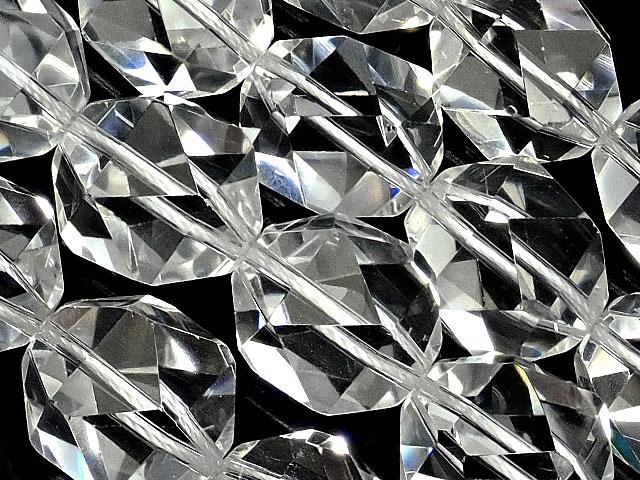 天然石【連販売】天然水晶 クリスタルクォーツ トライアングル 20面カット 14mm【1連 4,800円】ビーズとパワーストーン