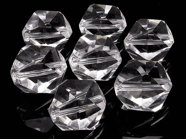 天然石【粒販売】天然水晶 クリスタルクォーツ トライアングル 20面カット 14mm【3粒販売 780円】ビーズとパワーストーン