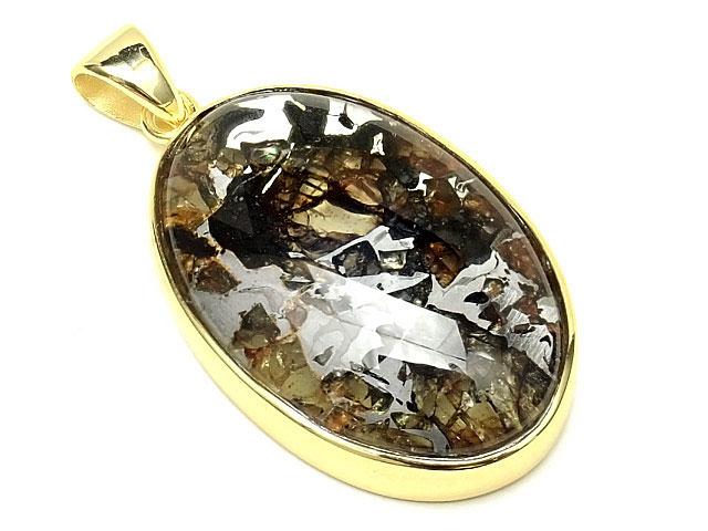 天然石ロシア産 パラサイト セイムチャン隕石 ペンダントトップ 32×22mm No.57【1点もの 28,800円】ビーズとパワーストーン