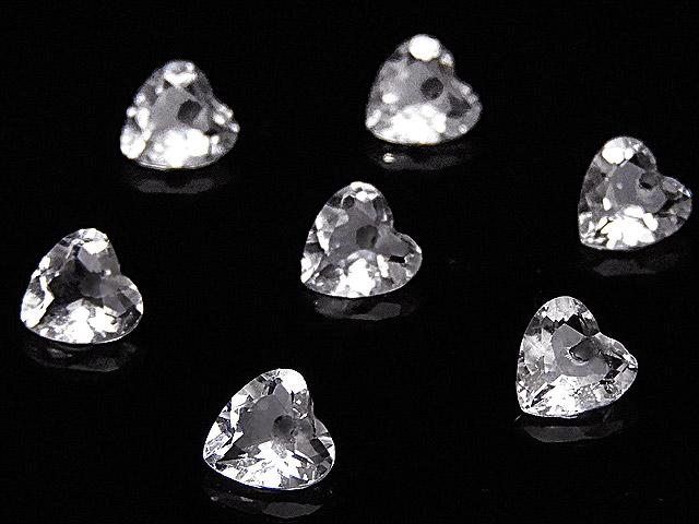 天然石【粒販売】天然水晶 クリスタルクォーツ ハートカット 6mm[ファセットカット]【4粒販売 880円】ビーズとパワーストーン