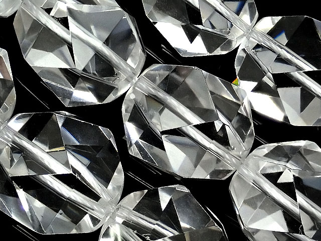 天然石【連販売】天然水晶 クリスタルクォーツ トライアングル 20面カット 16mm【1連 5,400円】ビーズとパワーストーン