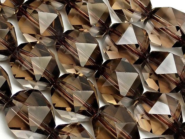 天然石【連販売】スモーキークォーツ トライアングル 20面カット 10mm【1連 4,500円】ビーズとパワーストーン