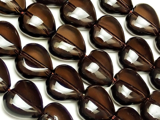 天然石【連販売】スモーキークォーツ ハート 10mm【1連 1,200円】ビーズとパワーストーン