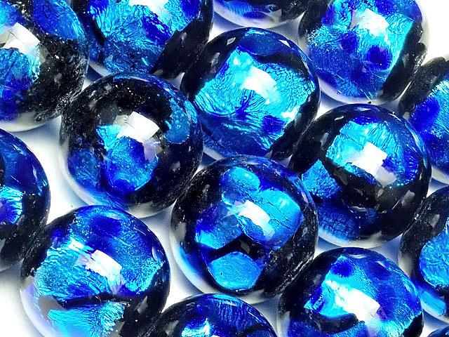 天然石【連販売】とんぼ玉 丸玉 12mm[銀箔/ブルー]【1連 2,200円】ビーズとパワーストーン