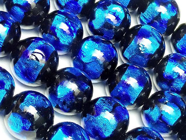 天然石【連販売】とんぼ玉 丸玉 10mm[銀箔/ブルー]【1連 2,400円】ビーズとパワーストーン