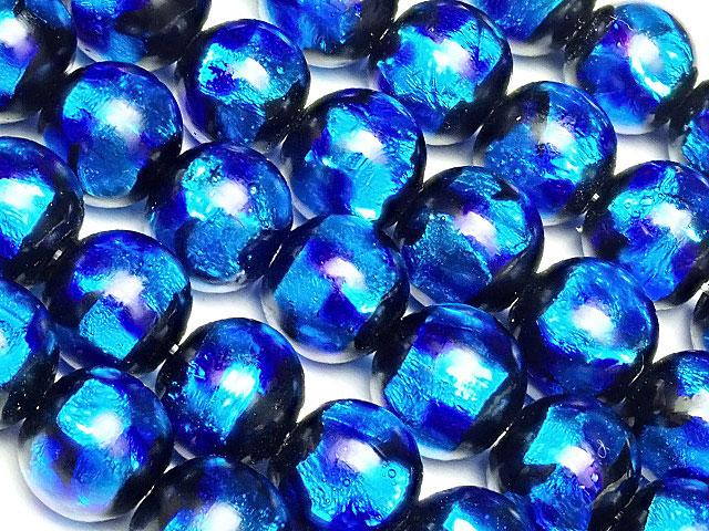 天然石【連販売】とんぼ玉 丸玉 8mm[銀箔/ブルー]【1連 2,800円】ビーズとパワーストーン