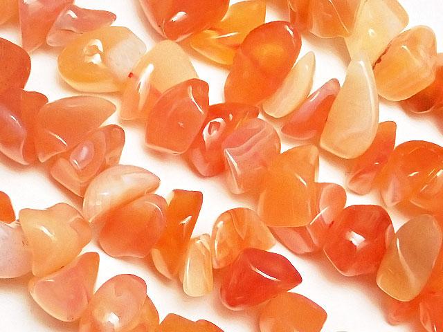 天然石【連販売】オレンジボツワナアゲート チップ 4〜13mm【1連 600円】ビーズとパワーストーン
