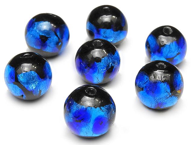 天然石【粒販売】とんぼ玉 丸玉 10mm[銀箔/ブルー]【5粒販売 500円】ビーズとパワーストーン