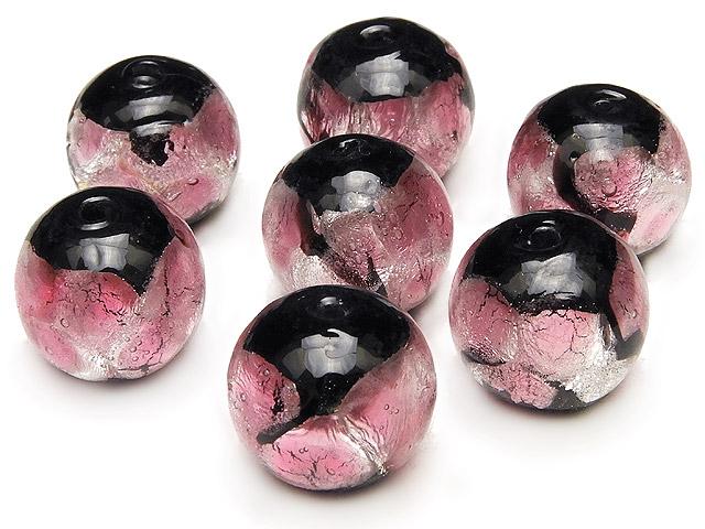 天然石【粒販売】とんぼ玉 丸玉 12mm[銀箔/ピンク]【5粒販売 550円】ビーズとパワーストーン
