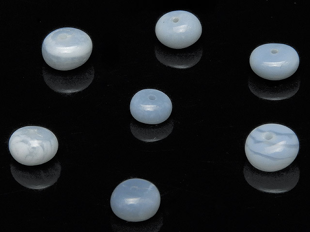 天然石【粒販売】インド産 ブルーオパール ロンデル 4〜6mm【10粒販売 500円】ビーズとパワーストーン