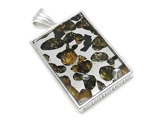天然石ロシア産 パラサイト セイムチャン隕石 ペンダントトップ 32×22mm No.80【1点もの 17,800円】ビーズとパワーストーン