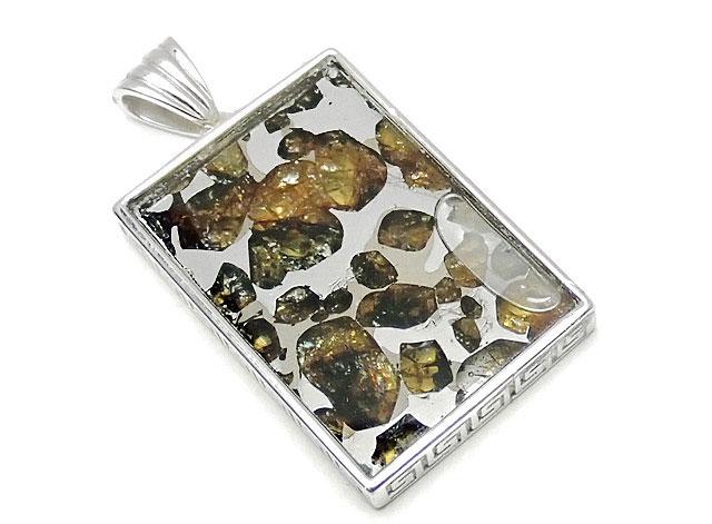 天然石ロシア産 パラサイト セイムチャン隕石 ペンダントトップ 32×22mm No.83【1点もの 17,800円】ビーズとパワーストーン
