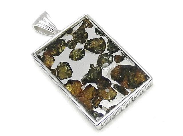 天然石ロシア産 パラサイト セイムチャン隕石 ペンダントトップ 32×22mm No.85【1点もの 17,800円】ビーズとパワーストーン
