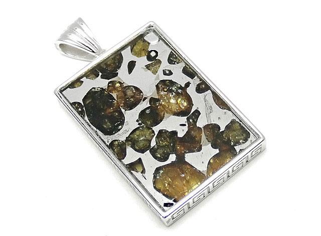 天然石ロシア産 パラサイト セイムチャン隕石 ペンダントトップ 32×22mm No.86【1点もの 17,800円】ビーズとパワーストーン