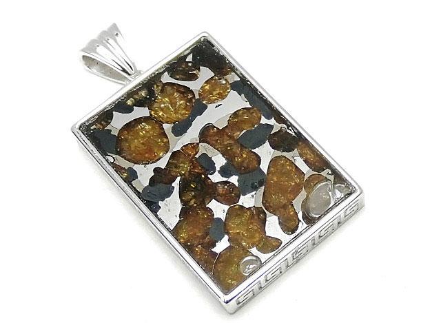 天然石ロシア産 パラサイト セイムチャン隕石 ペンダントトップ 32×22mm No.88【1点もの 17,800円】ビーズとパワーストーン