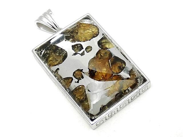 天然石ロシア産 パラサイト セイムチャン隕石 ペンダントトップ 32×22mm No.89【1点もの 19,800円】ビーズとパワーストーン