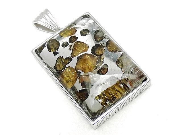 天然石ロシア産 パラサイト セイムチャン隕石 ペンダントトップ 32×22mm No.90【1点もの 19,800円】ビーズとパワーストーン