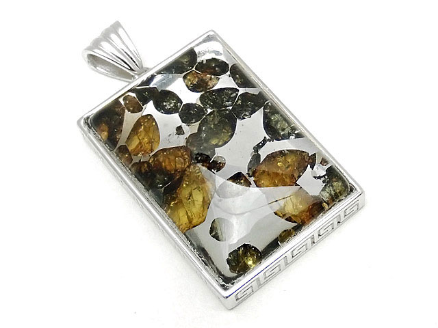 天然石ロシア産 パラサイト セイムチャン隕石 ペンダントトップ 32×22mm No.91【1点もの 19,800円】ビーズとパワーストーン