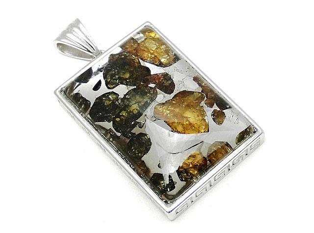 天然石ロシア産 パラサイト セイムチャン隕石 ペンダントトップ 32×22mm No.92【1点もの 19,800円】ビーズとパワーストーン