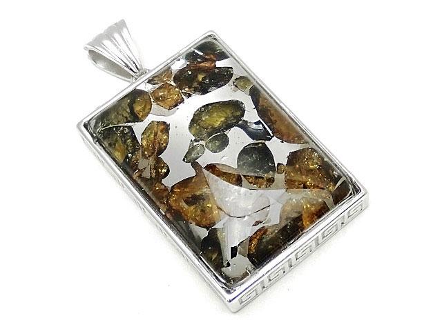 天然石ロシア産 パラサイト セイムチャン隕石 ペンダントトップ 32×22mm No.96【1点もの 19,800円】ビーズとパワーストーン