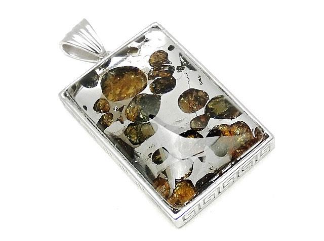 天然石ロシア産 パラサイト セイムチャン隕石 ペンダントトップ 32×22mm No.98【1点もの 19,800円】ビーズとパワーストーン