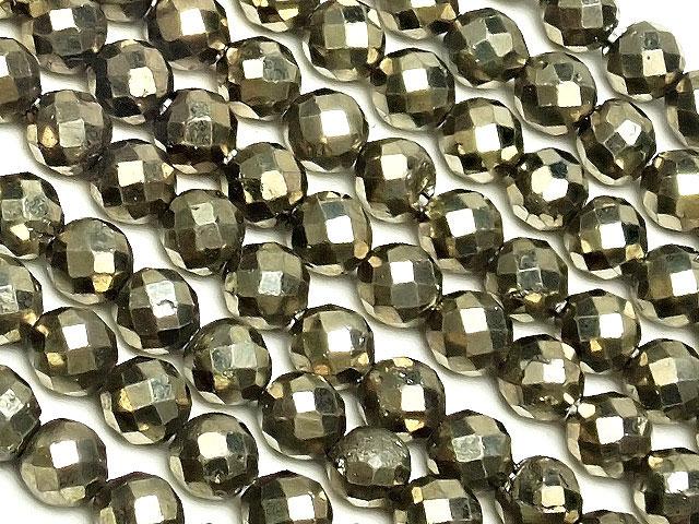 天然石【連販売】ゴールデンパイライト 面カット 丸玉 3mm[プレミアムカット]【1連 900円】ビーズとパワーストーン