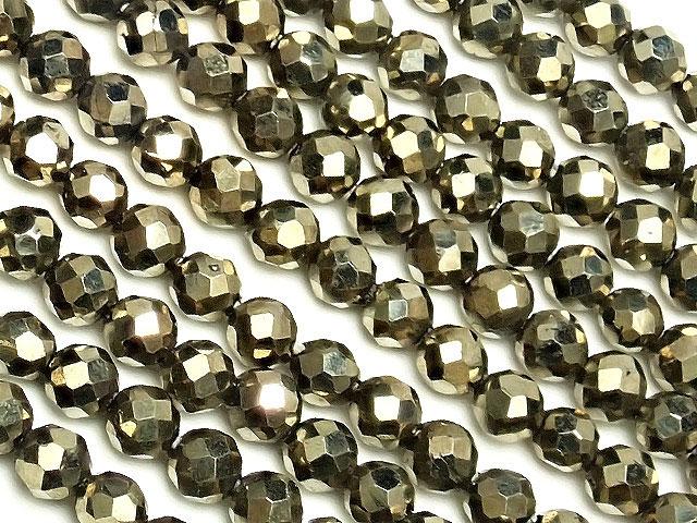 天然石【連販売】ゴールデンパイライト 面カット 丸玉 2mm[プレミアムカット]【1連 800円】ビーズとパワーストーン
