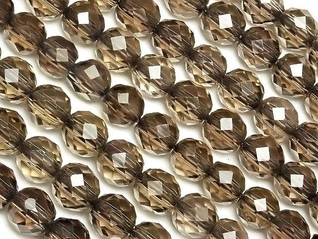 天然石【連販売】スモーキークォーツ 32面カット 丸玉 4mm[プレミアムカット]【1連 900円】ビーズとパワーストーン