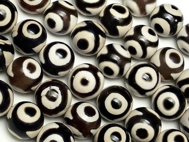 ビーズ天然石【連販売】三眼天珠 丸玉 8mm No.5【1連 1,000円】とパワーストーン