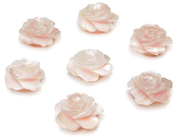 天然石【粒販売】ピンクシェル 薔薇 10×5mm【2粒販売 490円】ビーズとパワーストーン
