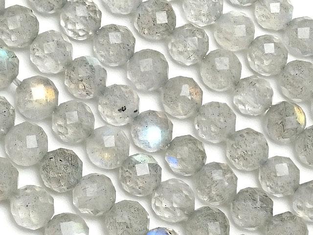 天然石【連販売】ラブラドライト 32面カット 丸玉 4mm[プレミアムカット]【1連 1,200円】ビーズとパワーストーン