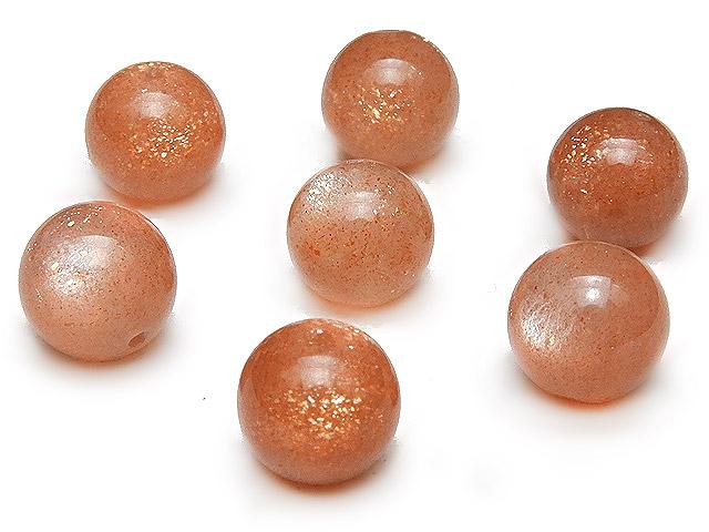ビーズ天然石【粒販売】オレンジムーンストーン 丸玉 8mm No.2【4粒販売 620円】とパワーストーン