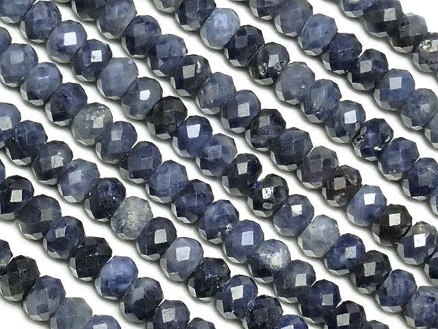 天然石【連販売】サファイア ボタンカット 3×2mm[プレミアムカット]【1連 2,000円】ビーズとパワーストーン