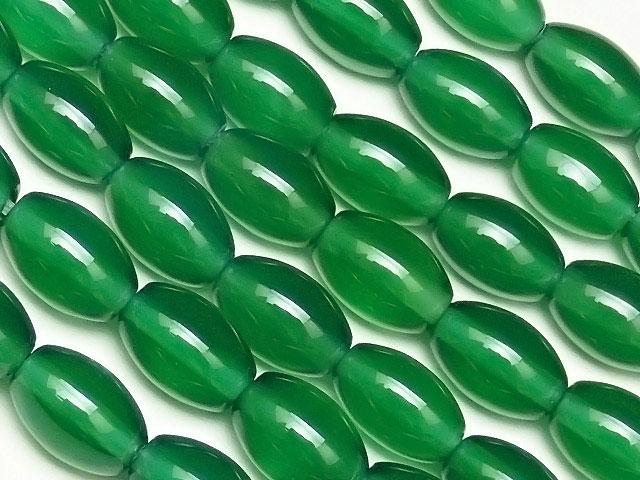天然石【連販売】グリーンオニキス ライス 9×6mm【1連 600円】ビーズとパワーストーン