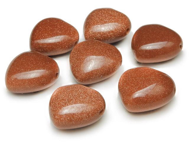 天然石【粒販売】ゴールドストーン ハート 15×8mm[横穴]【6粒販売 490円】ビーズとパワーストーン