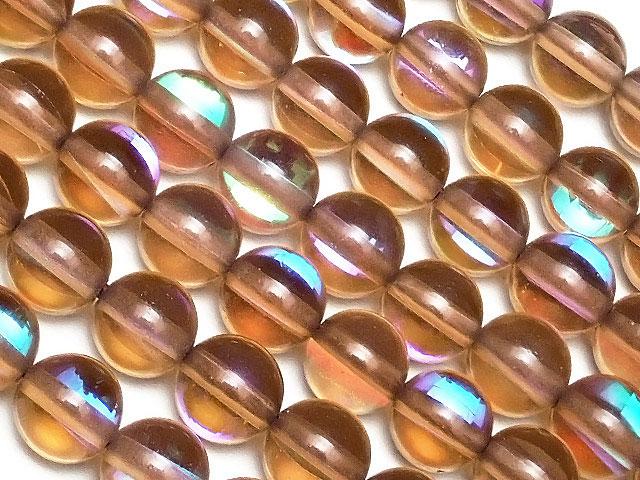 天然石【連販売】ブラウンルナフラッシュ 丸玉 6mm No.2【1連 700円】ビーズとパワーストーン