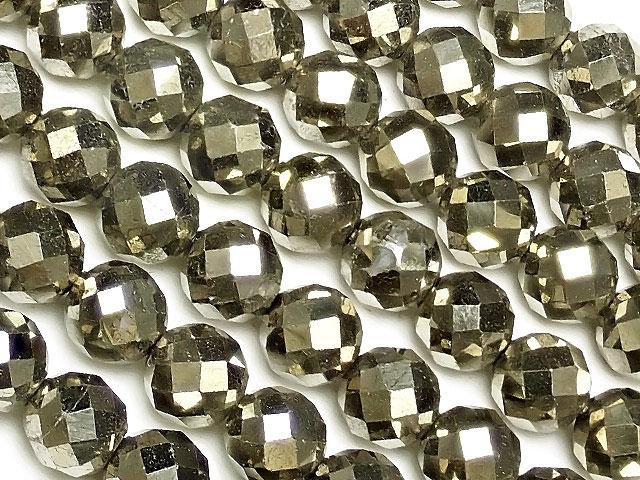 天然石【連販売】ゴールデンパイライト 64面カット 丸玉 6mm[プレミアムカット]【1連 1,400円】ビーズとパワーストーン