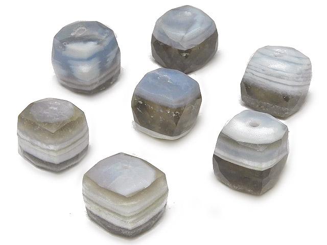 天然石【粒販売】アフリカ産 ストライプブルーオパール キューブカット 6〜9mm【3粒販売 570円】ビーズとパワーストーン