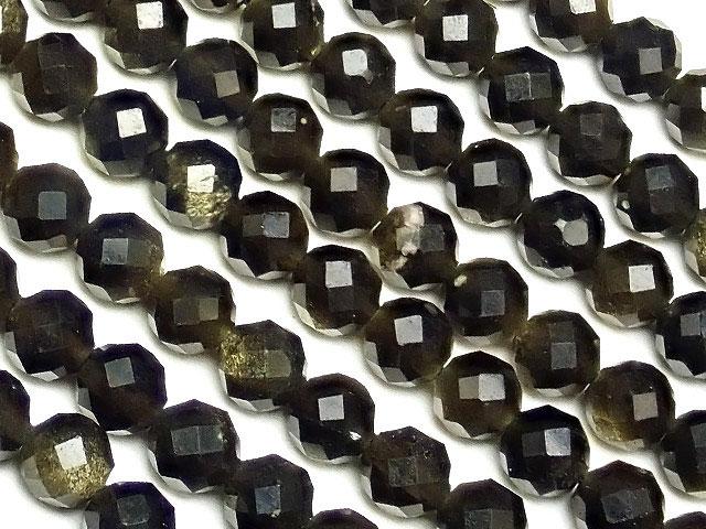 ビーズ天然石【連販売】ゴールデンオブシディアン 32面カット 丸玉 4mm[プレミアムカット]【1連 600円】とパワーストーン