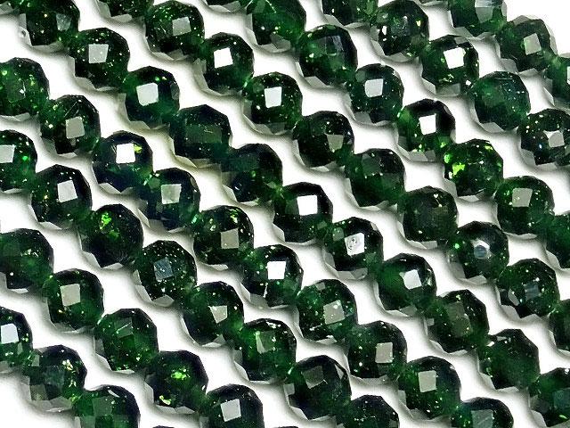 天然石【連販売】グリーンゴールドストーン 面カット 丸玉 3mm[プレミアムカット]【1連 500円】ビーズとパワーストーン