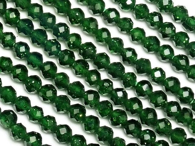 天然石【連販売】グリーンゴールドストーン 面カット 丸玉 2mm[プレミアムカット]【1連 500円】ビーズとパワーストーン