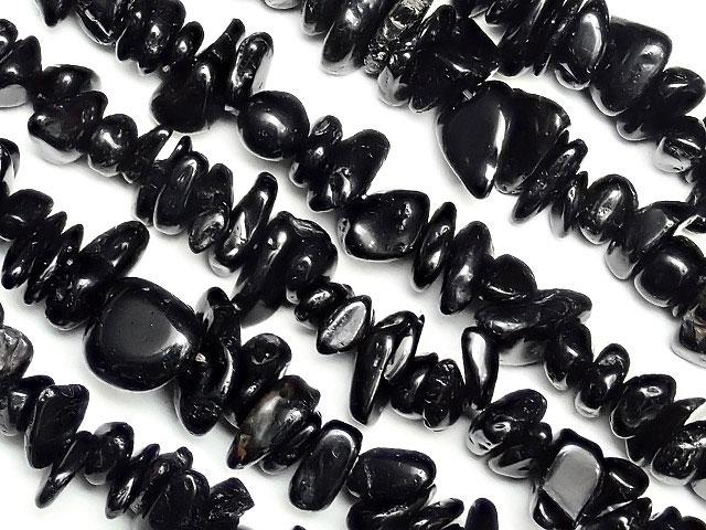 天然石【連販売】ブラックトルマリン チップ 4〜14mm[ロング連]【1連 400円】ビーズとパワーストーン