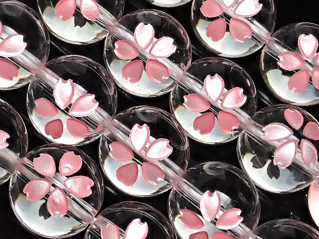 天然石【連販売】天然水晶 クリスタルクォーツ 桜 ピンク色彫刻 丸玉 12mm【1連 5,400円】ビーズとパワーストーン