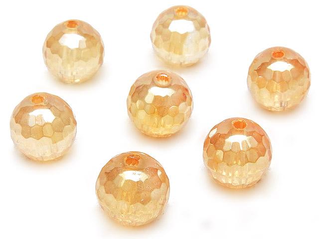 天然石【粒販売】ゴールデンオーラ 128面カット 丸玉 8mm【5粒販売 480円】ビーズとパワーストーン