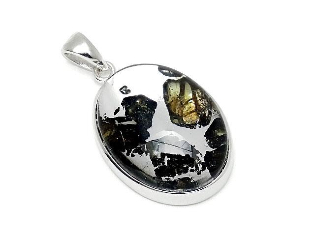 天然石ロシア産 パラサイト セイムチャン隕石 ペンダントトップ 25×16mm No.117【1点もの 17,800円】ビーズとパワーストーン