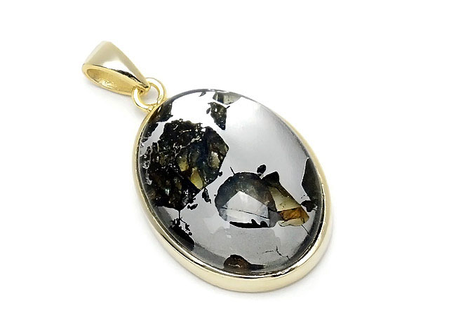 天然石ロシア産 パラサイト セイムチャン隕石 ペンダントトップ 25×16mm No.121【1点もの 17,800円】ビーズとパワーストーン